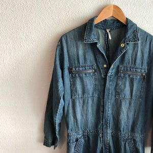 free people denim coveralls